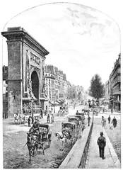 Boulevard and Porte Saint Denis, vintage engraving.
