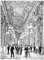Opera, the focus of the public, vintage engraving.