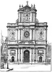 Church of St. Louis-Saint-Paul, vintage engraving.