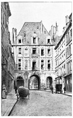 Birague street leading to the Place des Vosges, vintage engravin