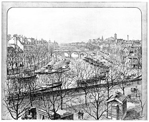 View from the Boulevard Henri IV on the right arm of the Seine,