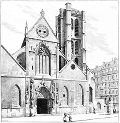Church of St. Nicolas des Champs, vintage engraving.