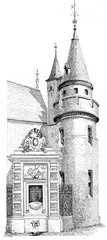 Fountain and Tower of Green wood, vintage engraving.