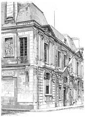 Enter the Carnavalet museum, rue de Sevigne, vintage engraving.