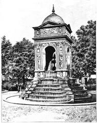 Fontaine des Innocents, vintage engraving.