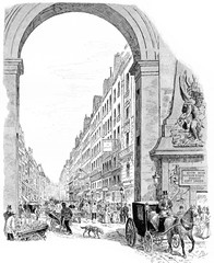 The entrance of the Faubourg Saint-Denis, vintage engraving.
