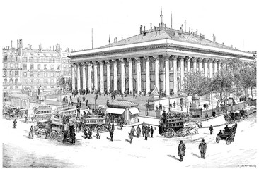 Paris Bourse, vintage engraving.