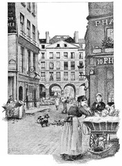 The arcades of the rue de la Ferronnerie, vintage engraving.