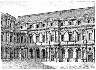 The old Louvre (front of Pierre Lescot), vintage engraving.