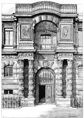 Louvre Palace. porte Jean Goujon, vintage engraving.