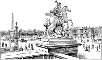 View from the terrace of the west on the Place de la Concorde, v