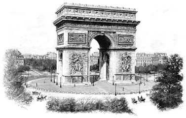 Triumphal arch of the star, vintage engraving.