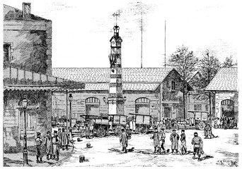 The general abattoirs of la Villette, vintage engraving.