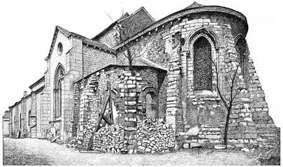 Church of Saint Peter of Montmartre, vintage engraving.