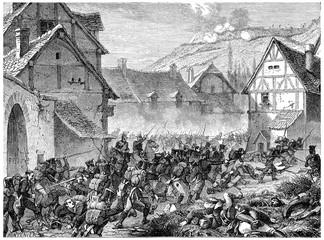 Battle of Laon, vintage engraving.