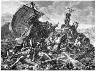 The shipwreck of the Medusa, vintage engraving.