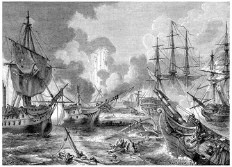 Battle of Navarino, vintage engraving.