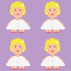 Pixelated bride vector pattern.