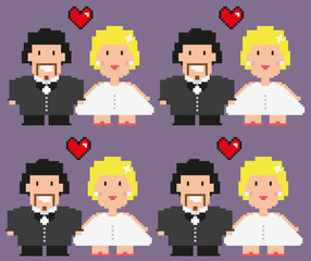 Pixelated bride and groom.