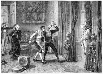 Death of the Prince of Conde, vintage engraving.