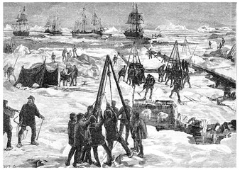 Wintering in polar ice, vintage engraving.