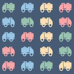 Colorful tipper truck vector pattern.