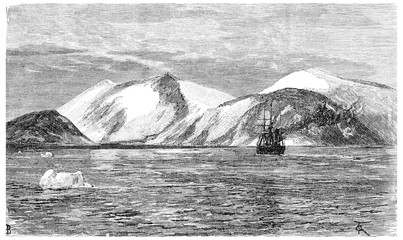 Cape York, vintage engraving.