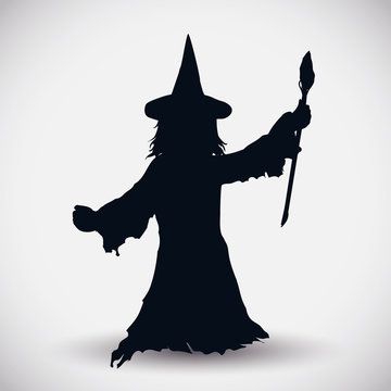 Witch Silhouette, Vector Illustration