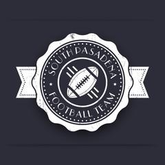 American Football white vintage emblem, logo, sign, badge, vector illustration