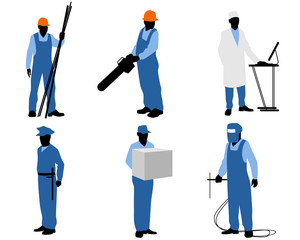 Six different workers
