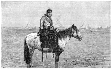 Chief Blackfoot watching a train go by, vintage engraving.