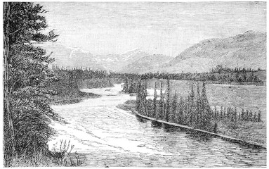 The Bow River near Padmore, vintage engraving.