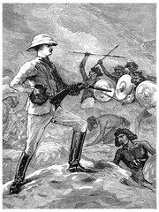 Colonel Burnaby at the Second Battle of teb, vintage engraving.