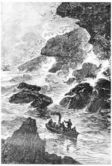 The vessel engaged through the pass, vintage engraving.