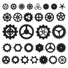 Steampunk collection machine gear. wheel cogwheel vector, set of