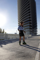 roller skater near a building