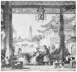 Inside the house of a mandarin, vintage engraving.