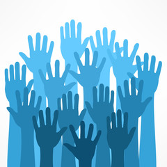 Raised hands on white, illustration