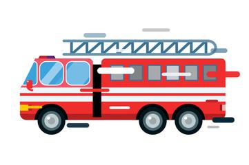 Fire truck car isolated vector cartoon silhouette