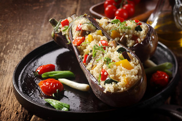Veggy stuffed aubergine menu
