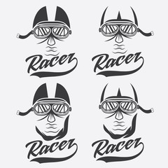 vintage illustration set of racer head