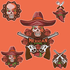 vector skull in a Mexican sombrero with chili peppers,flowers an