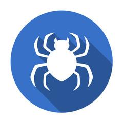 Icono plano redondo araña azul