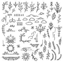 Set of Hand Drawn Black Doodle Design Elements. Decorative
