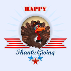 Happy Thanksgiving, message and cartoon turkey wearing a farmer hat and bow-tie; Holidays, layout, template with Thanksgiving turkey striped ribbon and stars, large space for text