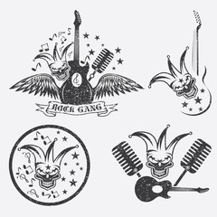 grunge rock gang set with jester skull,wings and guitar