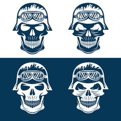 skull in helmet set, biker theme vector design template