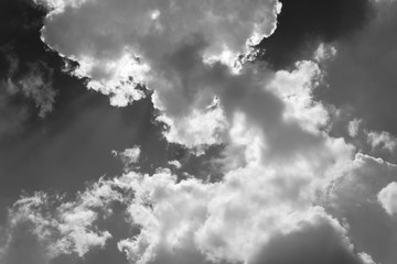 Beautiful sky in black and white