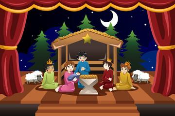 Kids Playing in Christmas Drama