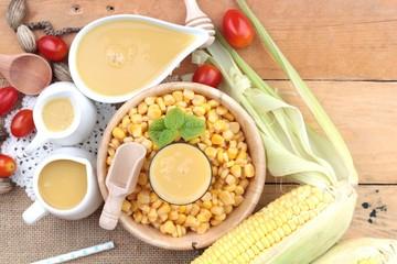 Corn milk and fresh sweet corn
